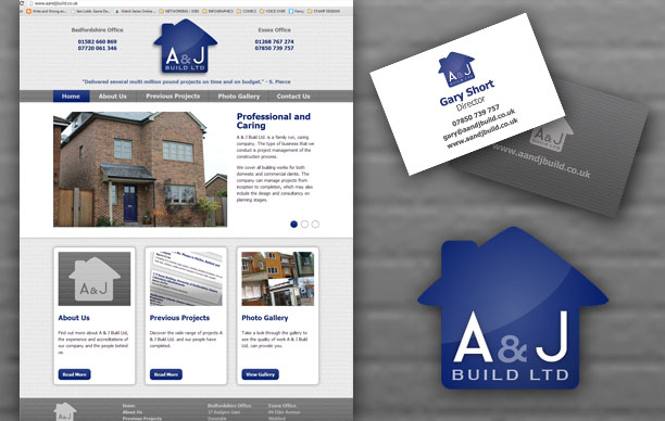 A & J Build Web Site, logo and Materials