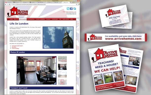 Arrive Homes Web Site and Materials